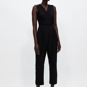 Zara jumpsuit with shoulder strips new M